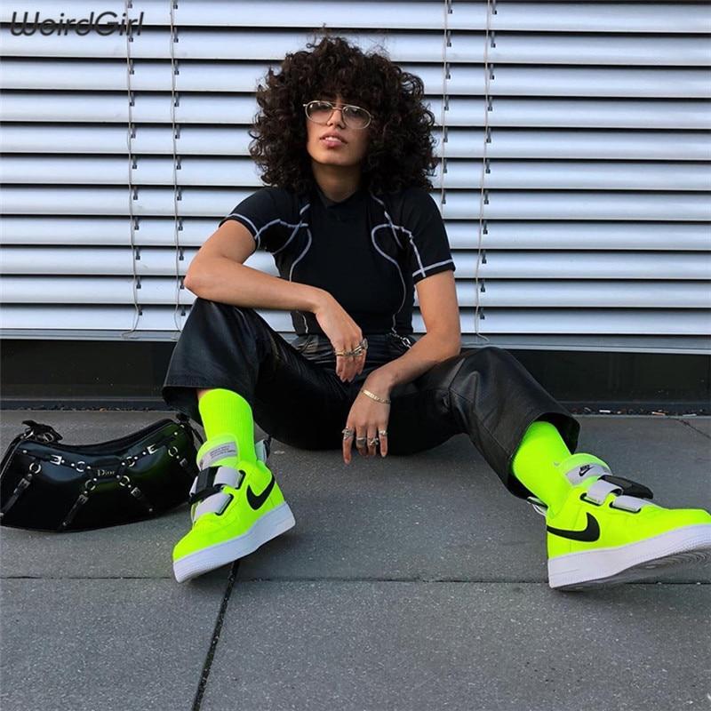 Weirdgirl women T-shirts casual fashion tultleneck short sleeve striped long clothing summer skinny female tops streetwear new