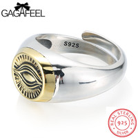 GAGAFEEL Men Ring 925 Sterling Silver Jewelry Finger Bijoux The Eyes Of God Design Changeable Big