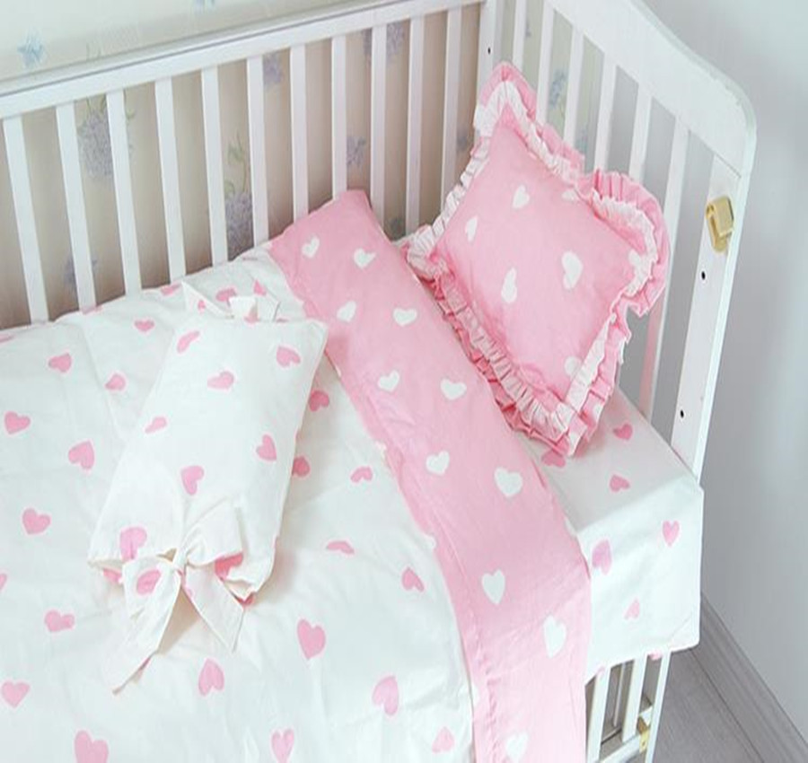 3 Pcs Baby Bedding Sets Pink Princess Lace Baby Bed Quilt