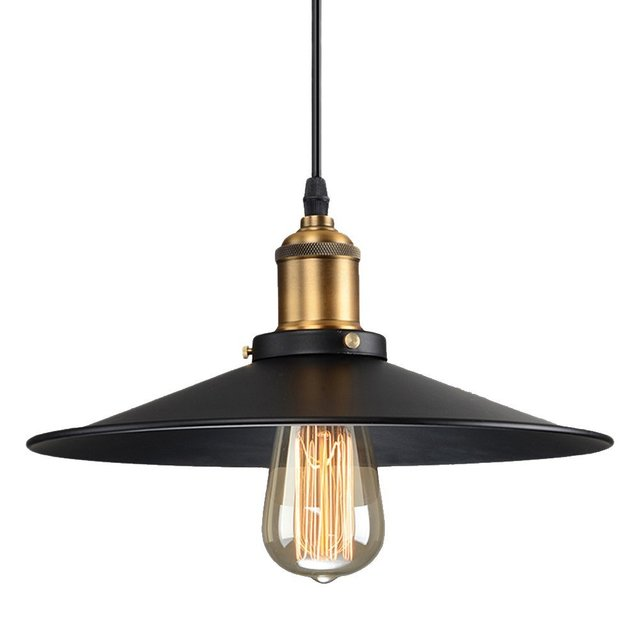 Fashional Pendant Lights 22CM/ LED E27 Vintage American Country Style Black Shade Pendant Lights Restaurant decorate
