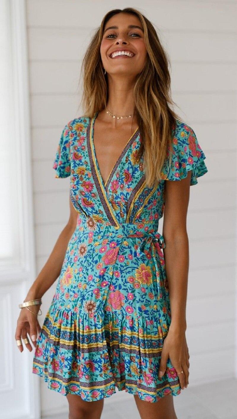 4 vieunsta vintage floral imprimir praia vestido de verão das mulheres novas com decote em v plissado uma linha de mini vestido elegante vestido plissado vestido de verão cinto - HTB115bOaInrK1RkHFrdq6xCoFXaz - VIEUNSTA Vintage Floral Imprimir Praia Vestido de Verão Das Mulheres Novas Com Decote Em V Plissado Uma Linha de Mini Vestido Elegante Vestido Plissado Vestido de Verão Cinto