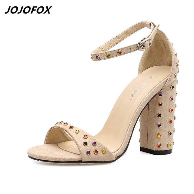 d820ed6f3b745c JOJOFOX Drop Shipping Summer Sandals Shoes Women Thick Heel Rhinestone  Sandals Office Ladies Evening Party Open France Sandals