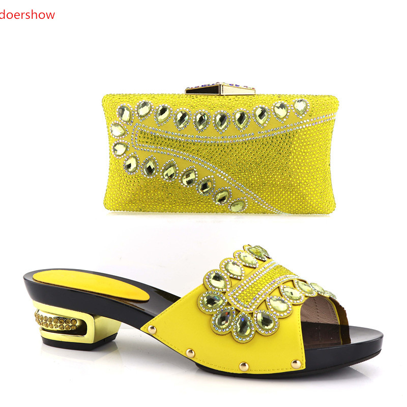 doershow top Selling African Rhinestones Women's Shoes and Bag Set Beautiful Design European Ladies Slipper And Bags Set SHV1-47 doershow latest african matching shoes and bag set beautiful design european ladies slipper and bags sets free shipping sgf1 45