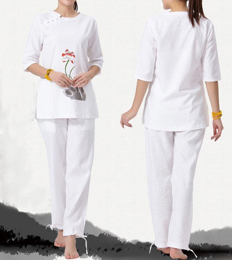 2 colore grigio bianco Primavera   estate   autunno cotone e lino femminile  uniformi vestiti vestiti di yoga di meditazione tai chi donne laici ... d76eaec8430