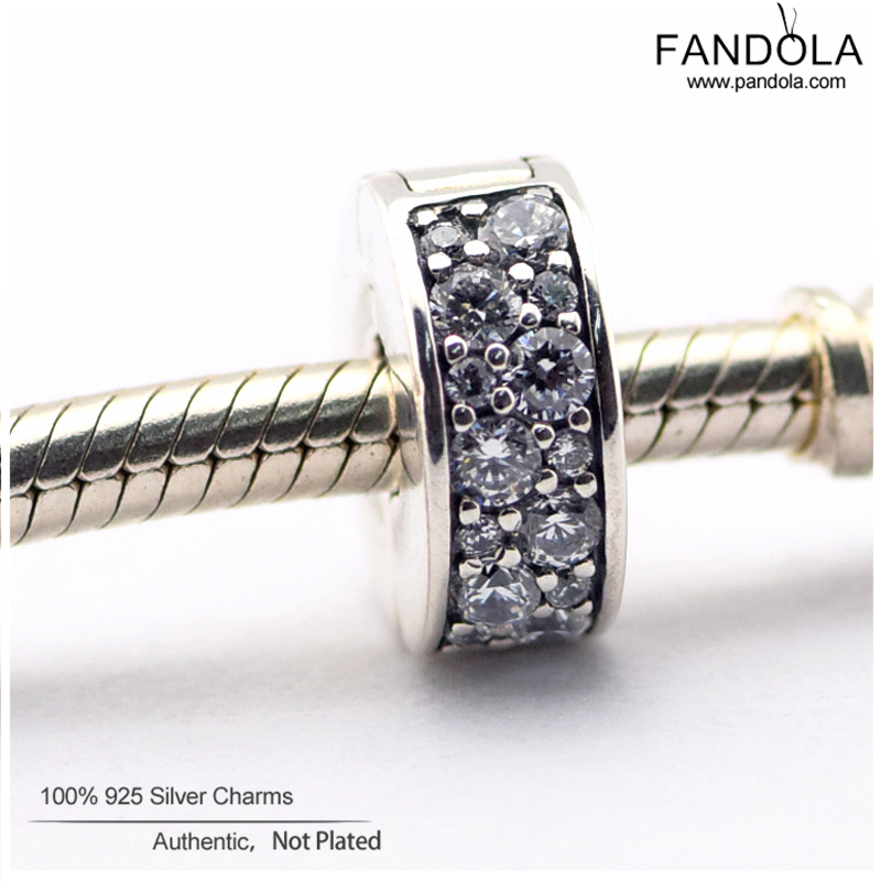 100 925 Sterling Silver Shining Elegance Clip Spacer Charm Beads for Jewelry Making Fits Pandulaso Diy