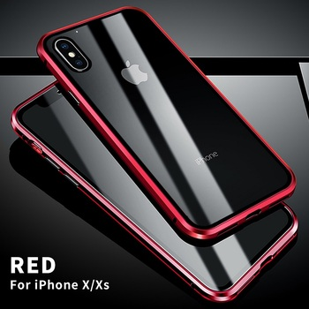 360 Full Protect Magnetic Case for iPhone XR XS MAX X 9 8 7 Plus SE 2020 Case Glass Cover for iPhone 11 Pro Max Case coque Funda - For iPhone 11Pro Max, Red