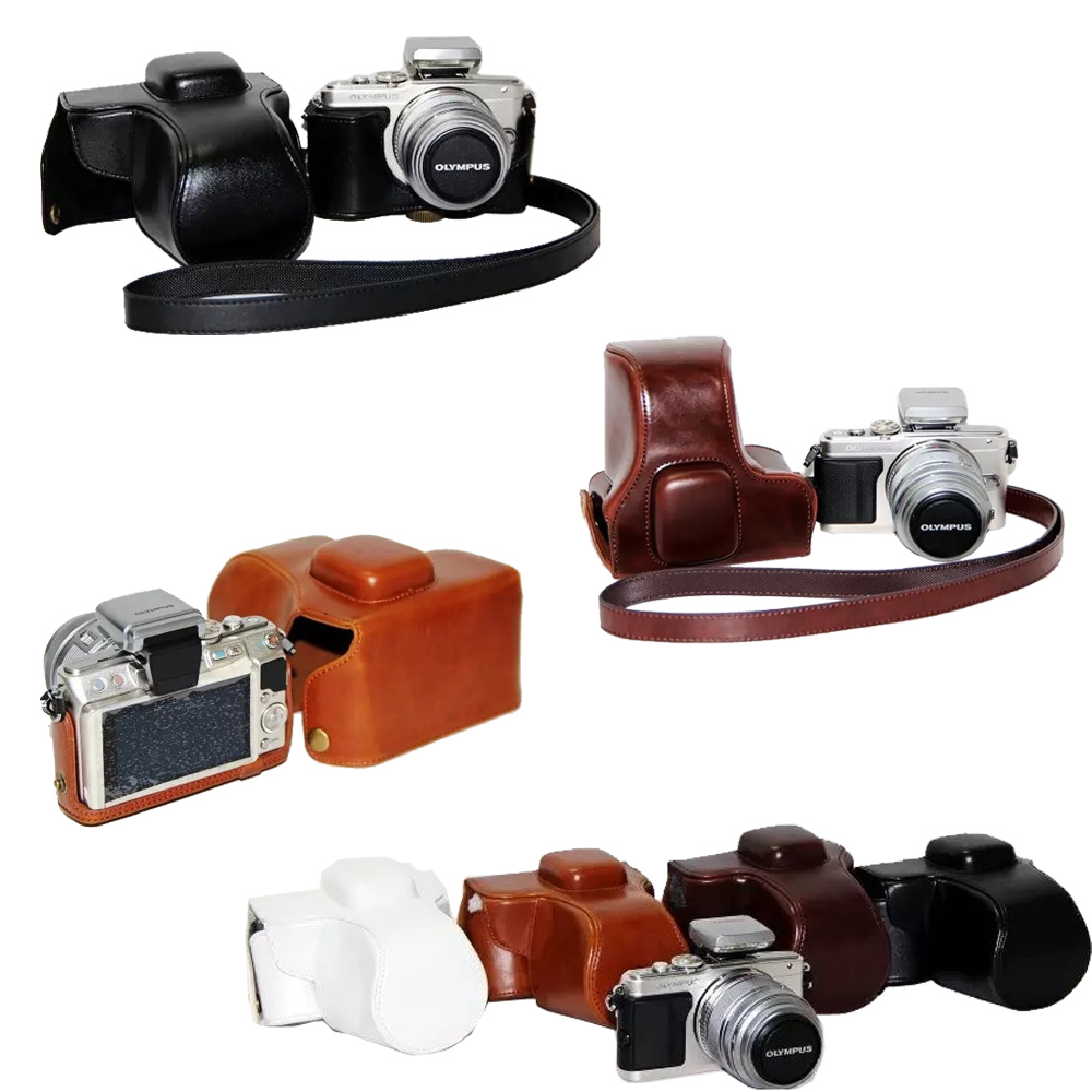 Retro Vintage Camera Bag Hard Camera case For Olympus EPL5 E-PL5 EPL6 E-PL6 EPM2 E-PM2 With Strap