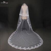 LZP028 Gelin Veils Beyaz Aplik Tül veu de noiva Uzun Düğün Veils Gelin Aksesuarları Dantel Gelin Peçe