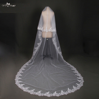 Bride Veils White Applique Tulle Veu De Noiva Long Wedding Veils Bridal Accessories Lace Bridal Veil