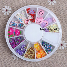 1PCS cane polymer clay nail art Stickers 3D fruit and flower Cutted rolls stamp decal tip cute printer DIY free shipping(China)
