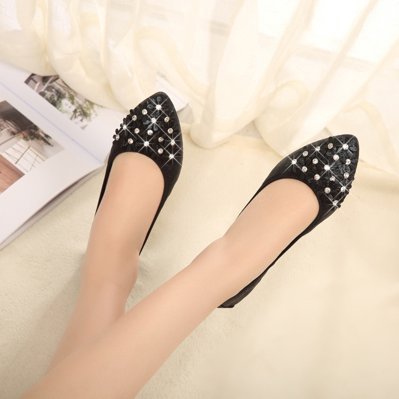 Luxury 2019 Women Flats Shoes Ballet Flats Pointed Toe Flower Shallow Fashion Shoes Woman Slip-On Soft Bottom Plus Size 34-45