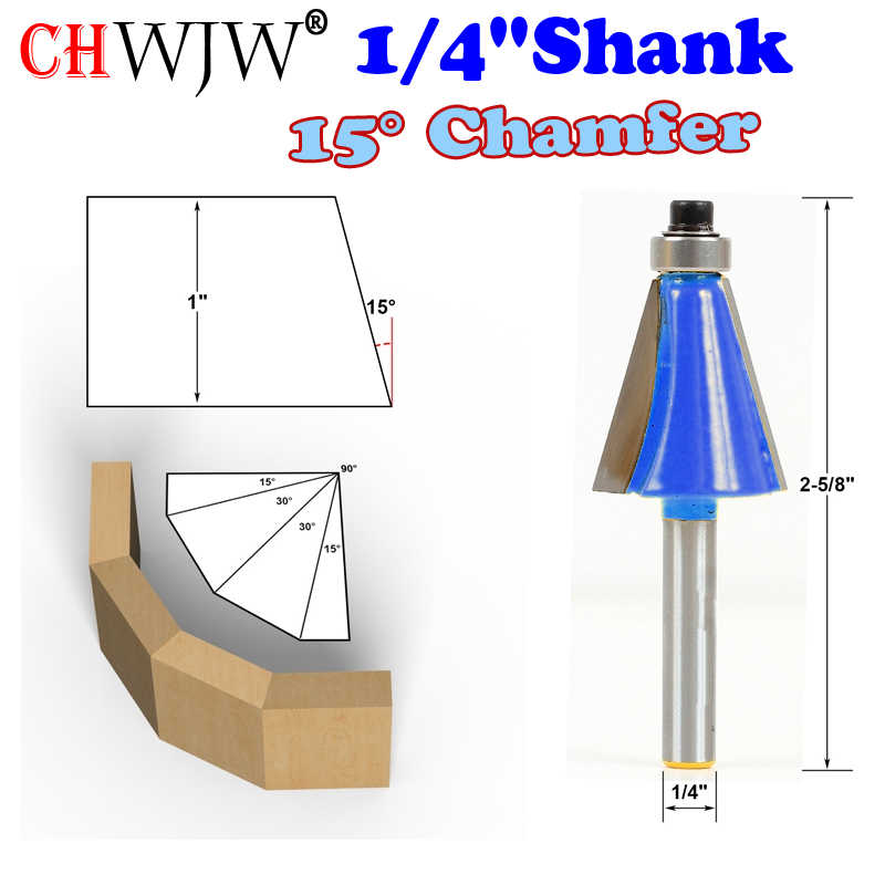 "1pc 1/4"" Shank 15 Degree Chamfer & Bevel Edging Router Bit  woodworking cutter woodworking bits - Chwjw-13903q"