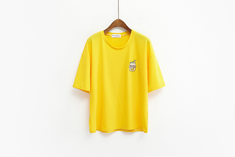 HTB115cNKFXXXXcGXpXXq6xXFXXXT - Summer New Cute Banana Milk Embroidered T-shirts PTC 192