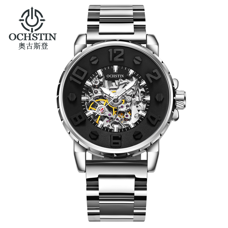 OCHSTIN Mechanical Automatic Skeleton Watches Men Steampunk Stainless Steel Wristwatches Self Winding Man Wristwatches 62004B ks golden stainless steel case automatic mechanical movement analog leather strap men self winding casual watches ks172