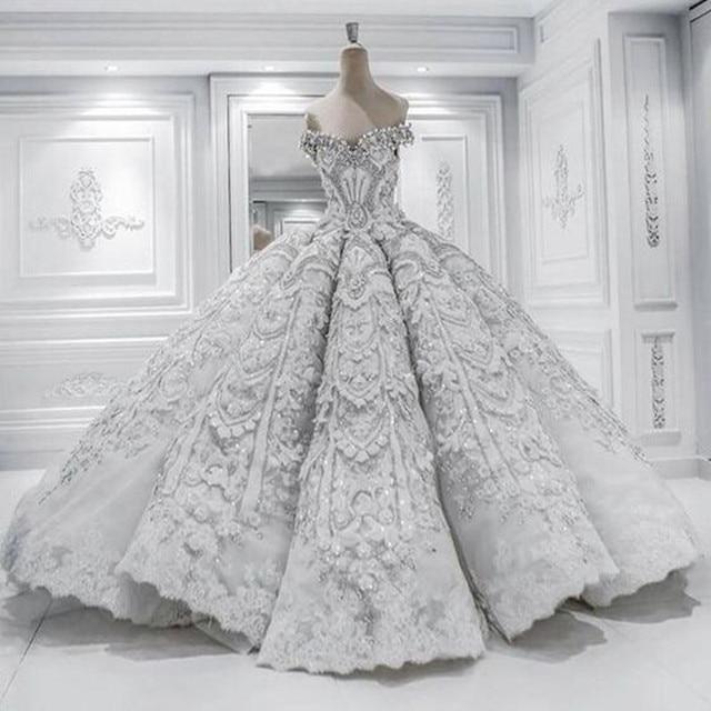 Princess Ball Gown Pretty Scoop Wedding Dress chapel long train luxury  Vestido De Novia 2017 Casamento