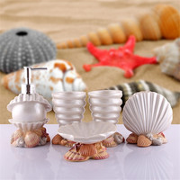 2018 Hot Fashion Bathroom Accessories with Shell Ocean Style Five Pieces Washing Supplies Sets For Bathroom As Wedding Gift