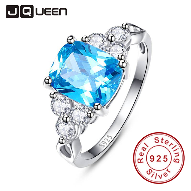 2016 luxurious Blue Ring Genuine 925 Sterling Silver Cocktail Party Rings CZ Stone Women Female Size 6 7 8 9 Free Gift Package