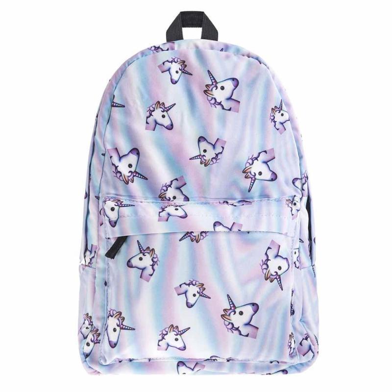 Lodogsow New Women Unicorn Backpack 3D Printing Travel Softback Bag Mochila School Cat Notebook Rucksack For