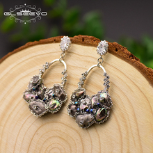 XlentAg Handmade Natural Black Pearl Drop Earrings For Women Pave Zircon Wedding Jewelry Boucle Doreille Femme 2019 GE0696