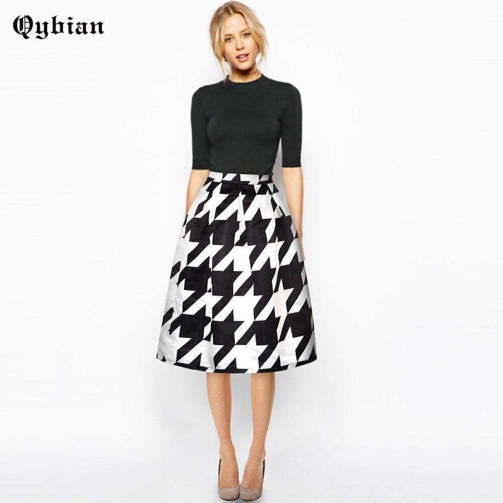 Qybian Spring Summer female Sexy Women Firebird Print Skirts High Waisted Pleated Plain Skater women Skirt High quality skirts