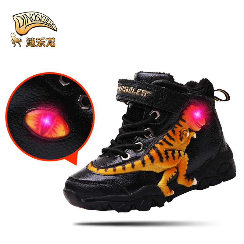 Dinoskulls Boys Boots Winter Glowing Led 3D dinosaur Snow Boots genuine leather Children warm fleece fur