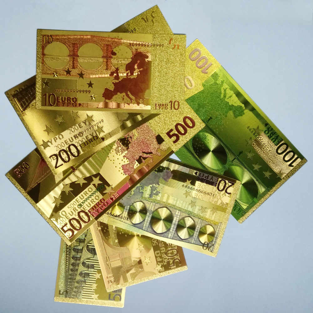 Full Set 7pcs Colorful Gold Banknote Euro Or US Dollor Set World Money Souvenir Gift Golden Bank Notes