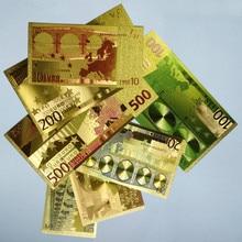 Полный набор 7 шт. ярких золотых банкнот, евро или доллар США, сувенирные монеты со всего мира, подарочные золотые банкноты