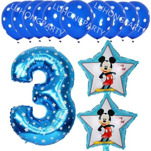 New mickey minnie number 3 foil balloons lot helium latex globos baby shower birthday party decor supplies kids toys