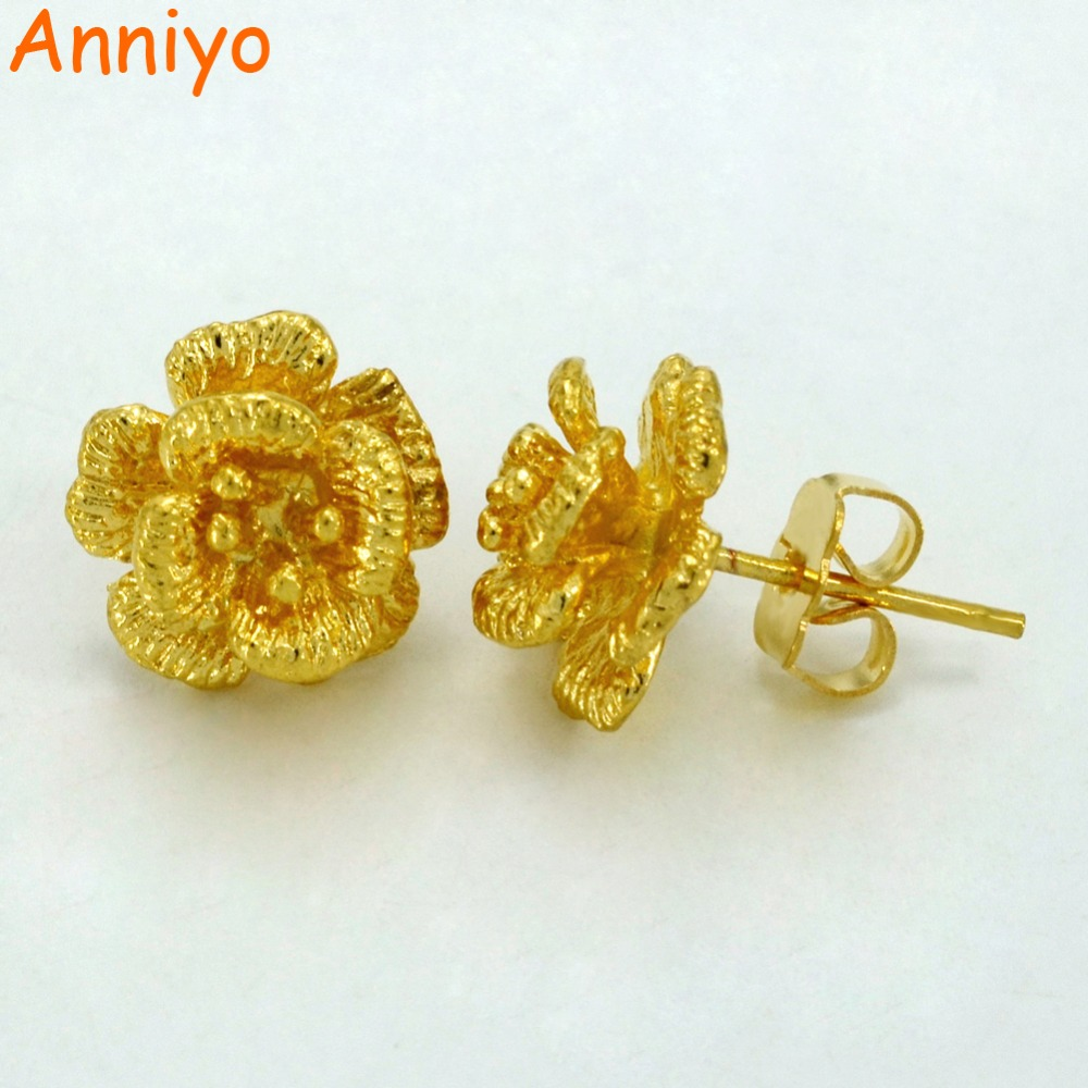 Anniyo 1 3cm gold color small earrings for girls women 39 s for Gemsprouts tiny plant jewelry