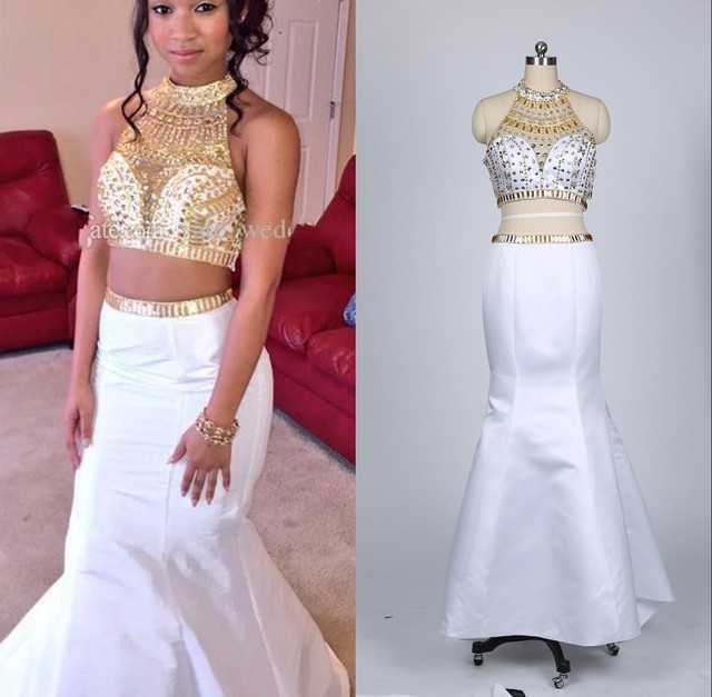 Real Photo Sexy Mermaid 2 Piece Prom Dresses Heavy Beaded White And