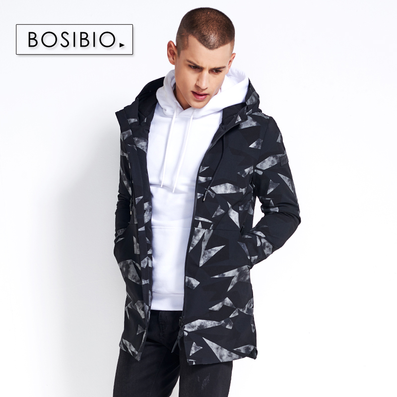 BOSIBIO 2018 Spring Autumn Trench Coat Mens Geometric Printed Hooded Jackets Fashion Male Jacket and Coat High Quality MK815
