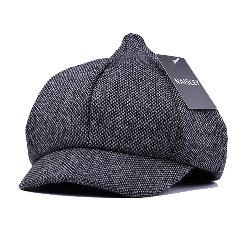 NAISLEY Brand Wool Cap Retro Elegant Winter Female Beret Duckbill Ivy Cap  Woman Girl Flat Cabbie Newsboy Warm Hat Black Grey 496eeb28aa53