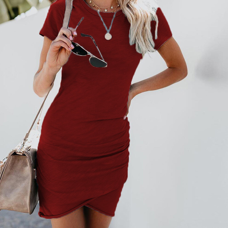 Sexy Dresses Women Summer Mini Dress Short Sleeve Solid Bodycon Slim Party Dress Casual Bodycon Beach Dress Vestido Plus Size 26