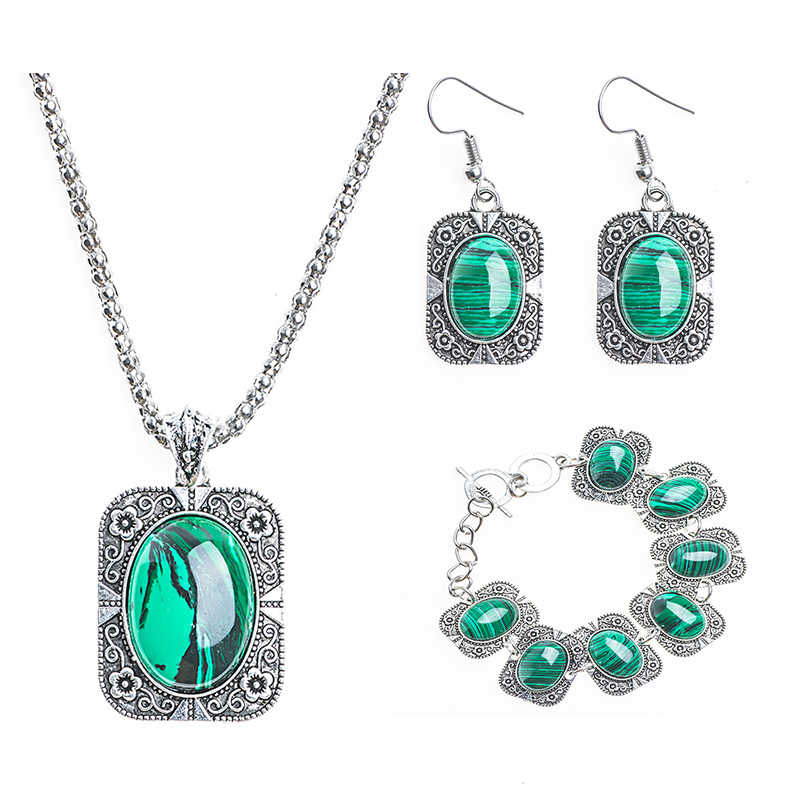 QCOOLJLY Jewelry Set 1 Set Vintage Green Fresh Pendant Necklace Earrings Bracelet For Woman