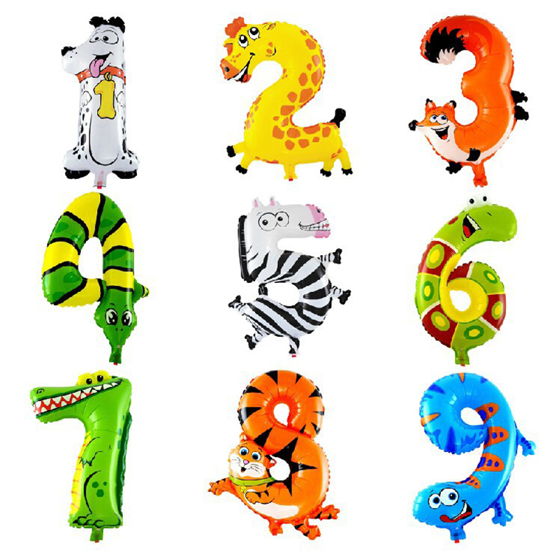 1pc 16inch Animals Number Foil Balloons Digit Helium Ballons Birthday Party Wedding Deco ...