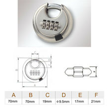 4 Digits Disc Padlock Hardened Stainless Steel Combination Security Round Lock