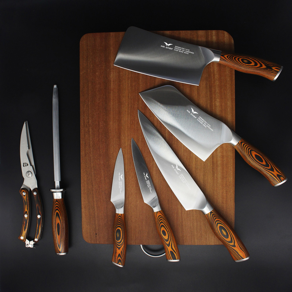 kitchen knives german knife block set 8pcs professional chef knives cutlery german steel wooden handle 86279095541 ebay 8485