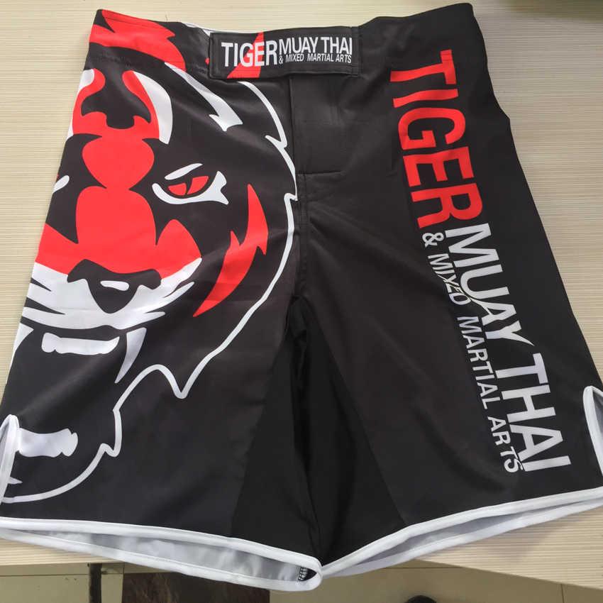 Suotf Baru 2015 Harimau Cetak MMA Longgar Tinju Muay Thai Celana Pendek Keringat Cepat Kering Pertarungan Pelatihan Global Gratis pengiriman