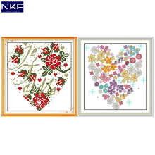 NKF Heart-shaped Flowers Stamped Cross Stitch Kits 11ct 14ct