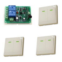 DC 9V 24V Wireless Remote Control Switch System Radio Controller Switch Relay Receiver 3 Wall Transmitter