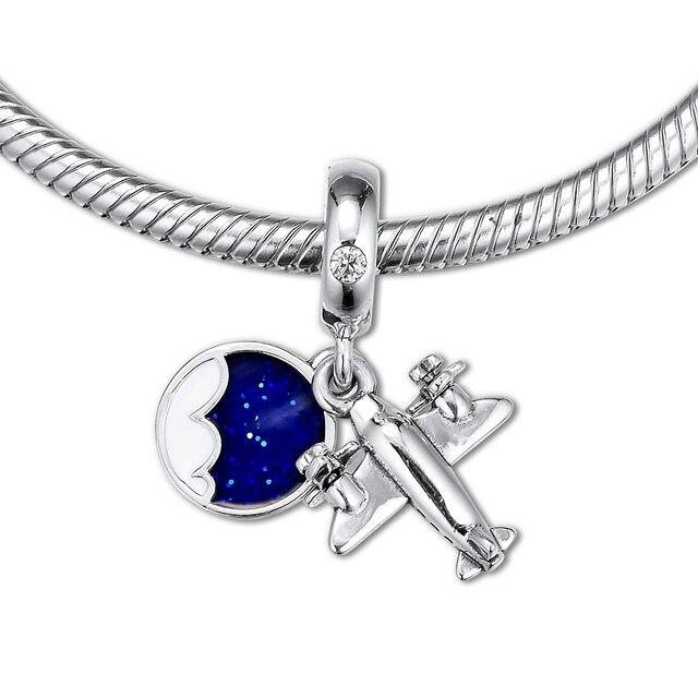 2019 Summer Propeller Plane Dangle Charm 925 Sterling Silver Original Europe Beads for Women Fits Pandora Bracelet DIY Jewelry