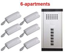 2019 novo item direto pressione a tecla de áudio do telefone da porta casa intercom campainha de áudio para 6 apartamentos, 2 sistema de intercomunicação de áudio com fio