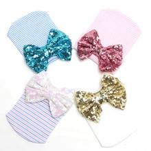 2019 Boys and Girls Explosion Models Baby Sequins Bow Hats tire hats striped models knitted Europe America Christmas gi