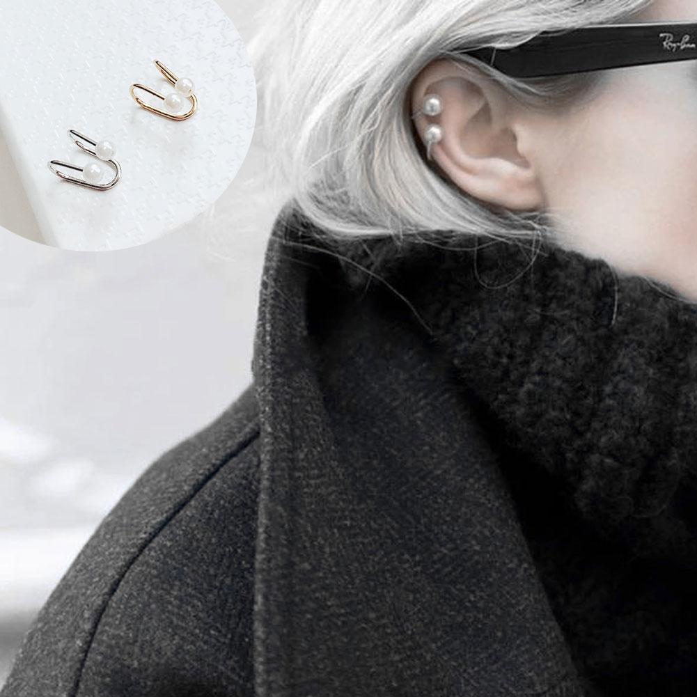 TrinketSea Women 2 Pcs Earrings Set Charm Punk Personality Alloy Safety Pin Ear Cuff Fashion Accessories Earrings Sets