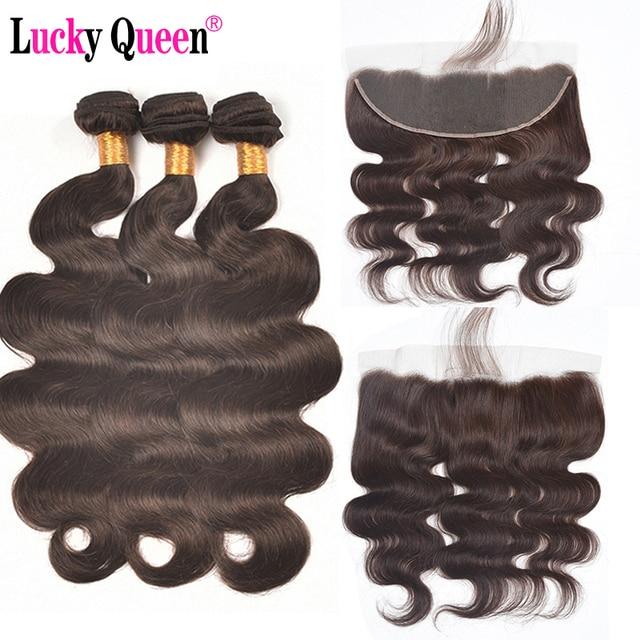#1b/#2/#4 Brazilian Body Wave Bundles With 13*4 Frontal 4pcs/lot Body Wave Human Hair Extensions with Frontal Non Remy Hair