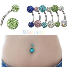1 CÁI Cổ Điển Navel Belly Button Bar Nhẫn Barbell Rhinestone Crystal Ball Body Piercing Body Jewelry 023N MẶT HÀNG(China)