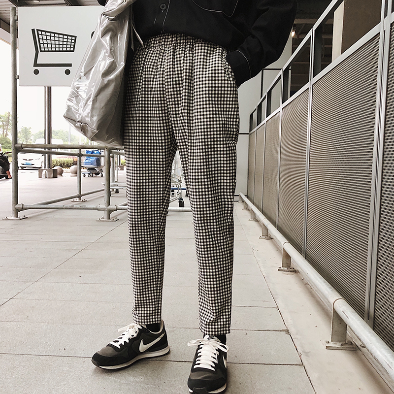 Men's Clothing 2018 Korean Style Mens Fashion Black And White Color Lattice Printing Casual Pants Elastic Waist Brand Trousers Size M-2xl Attractive Designs;