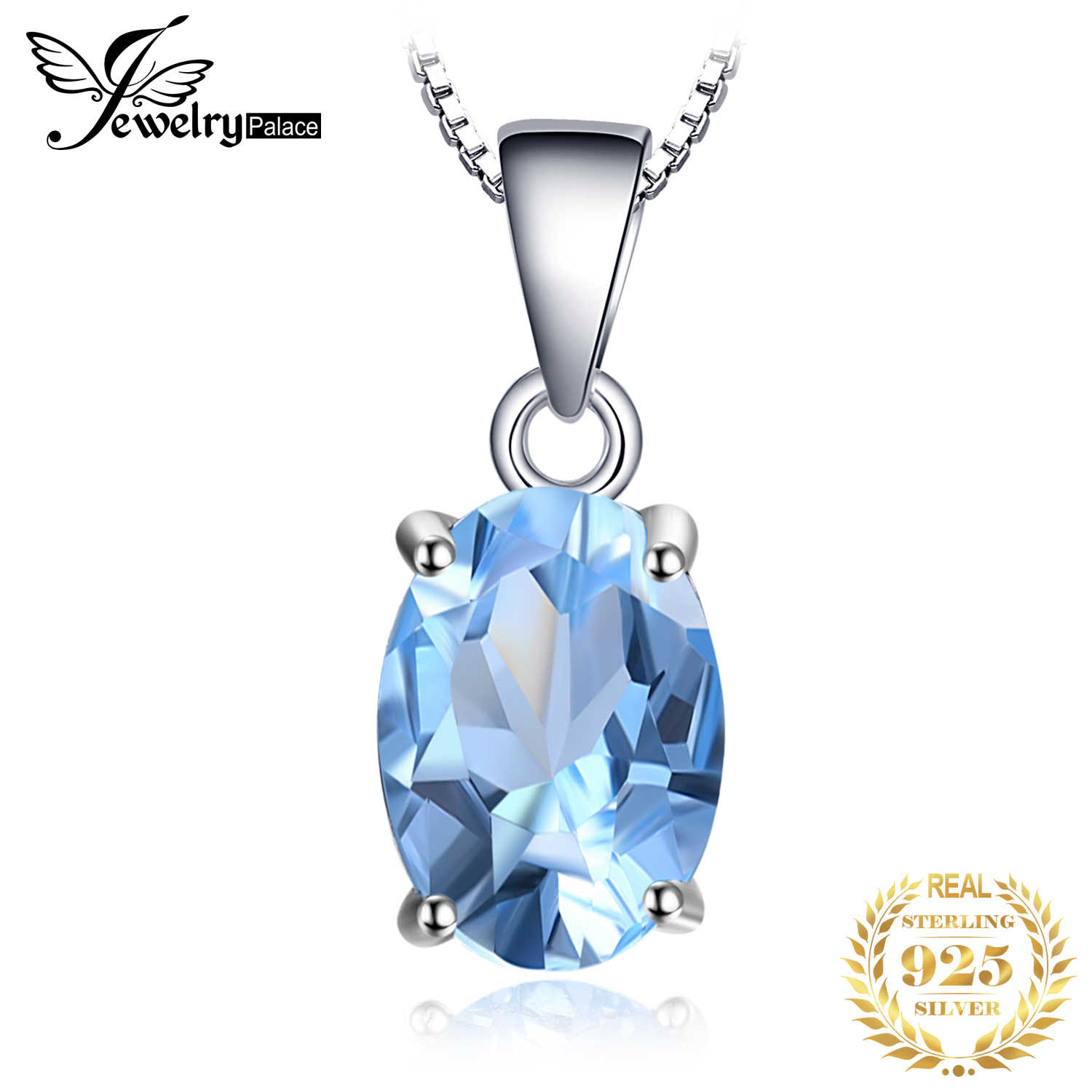 JewelryPalace Oval 2.1ct ท้องฟ้าสีฟ้าพลอย Topaz Solitaire จี้ Solid 925 Sterling เงินไม่มีโซ่เครื่องประดับ