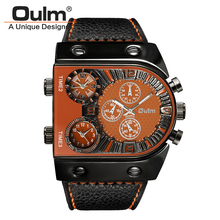 Oulm Men s Waches Three Time Zones Quartz Moverment Luxury Brand Leather Watch Analog Mens Watch