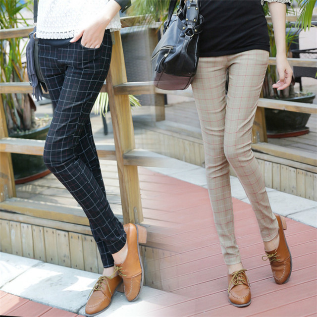 2016 Spring autumn new fashion maternity pants Grid trousers pencil foot leisure abdomen